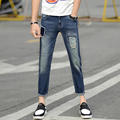 Summer Men Jeans Ripped Patched Printed Tapered Painted Slim Fit Jean Denim Japan Pants Trendy Torn Casual Hiphop Biker Jeans