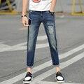 Verano de Los Hombres Pantalones Vaqueros Rasgados Parcheado Impreso Cónicos Pintado Rasgado Slim Fit Jean Denim Pantalones Japón de Moda Casual Hiphop Biker Jeans