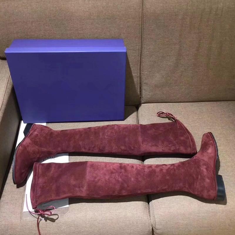 Lace Pointu Chaussons Mode Chaussures Super Femmes De Troupeau Up as Longues Luxe Piste Hauts Talons As Pic Sexy À Sur Genou Au Bout Star Des Retour Pic Marque Bottes HHwrq5