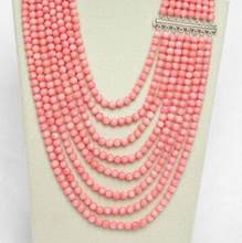 "Hot sale Genuine 8row 17""-25"" round pink coral beads necklace(China)"