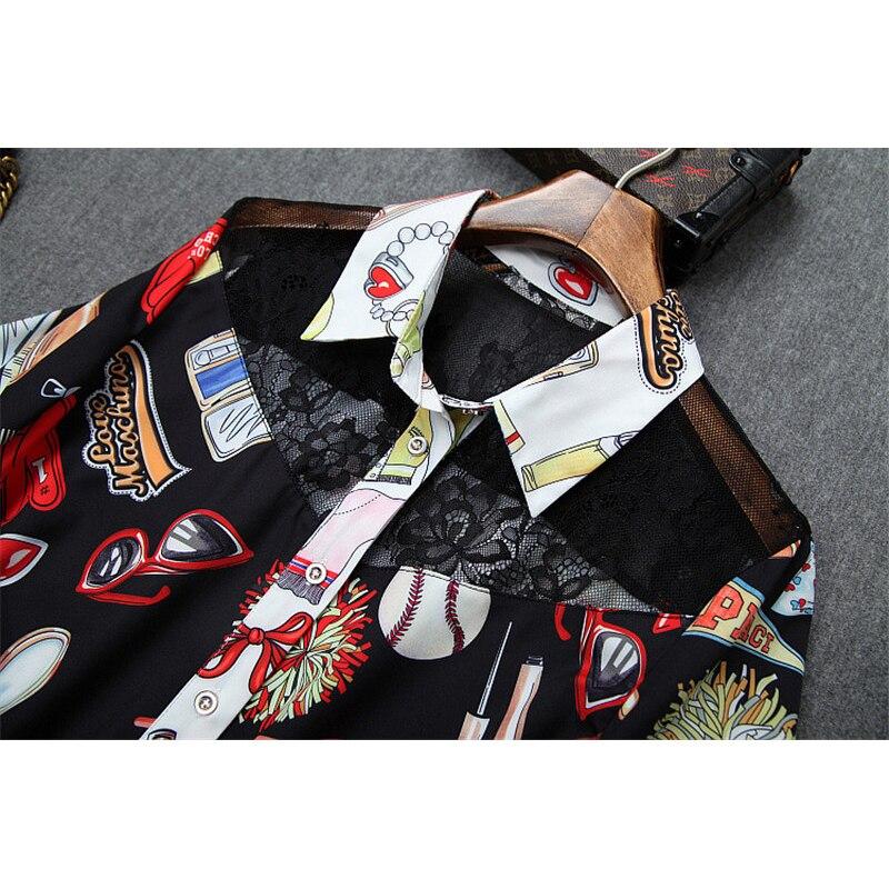 Дизайнерский бренд Runway Женский комплект 2 шт., летний модный топ с короткими рукавами и милым принтом, кружевной лоскутный топ и шорты, комплект в комплекте - 6
