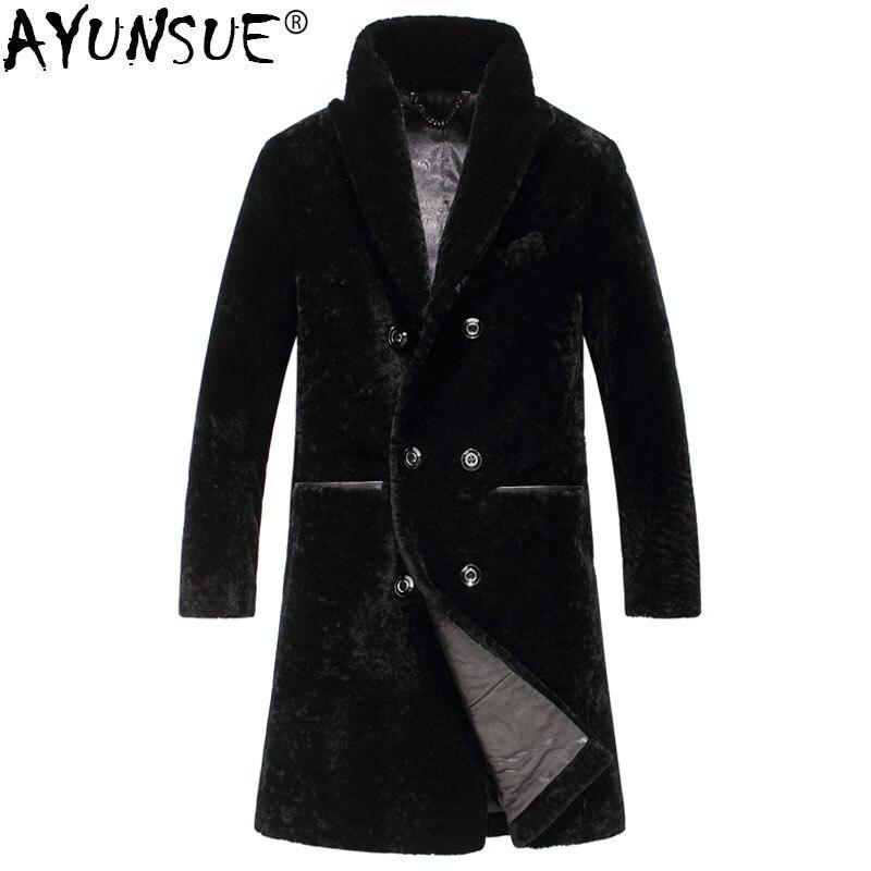 AYUNSUE Natural Sheep Shearling Fur Coat Warm Winter Jacket Men Natural Wool Fur Coats Men Clothes Winterjas Heren T16202 MY790
