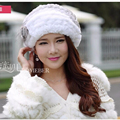 New Arrival 2016 Winter Real Rex Rabbit Fur Berets Headwear Solid Casual Hats Cap For Women Free Shipping