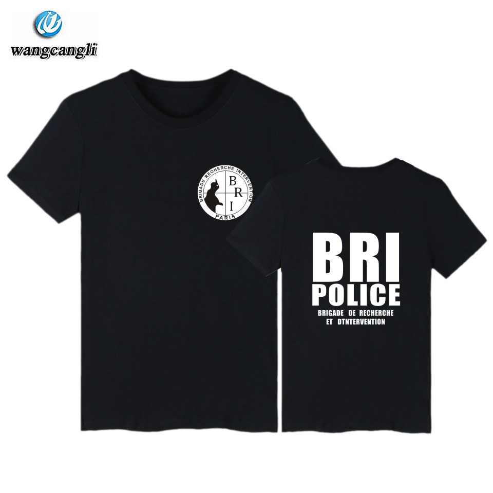 GIGN Gendarmerie T shirt men BRI POLICE fitness Cotton T-shirt Fitness Summer Fashion Short Sleeve Tshirt men camisa masculina ...
