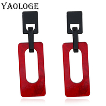 YAOLOGE Simple Rectangular Acrylic Earrings Personality Design Double Layer Popular Jewelry For Women Vintage Statement New