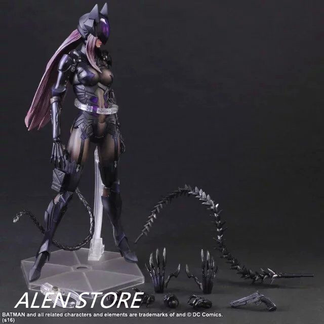 ALEN Anime Movie Batman Catwoman Action Figure Movable joints Playarts Kai figurine Toys Collection Model Play arts Kai doll pop figurine collection toy figure model doll