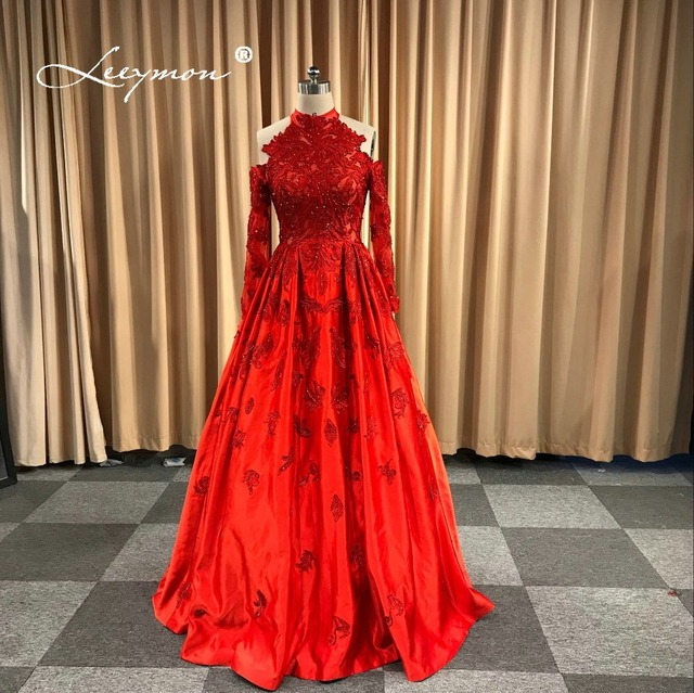 Leeymon Free Shipping 2018 Evening Dress Luxury Red Long Sleeves Handwork Lace  Evening Gown Robe De Soiree Longue Real Pictures 90c035d813af