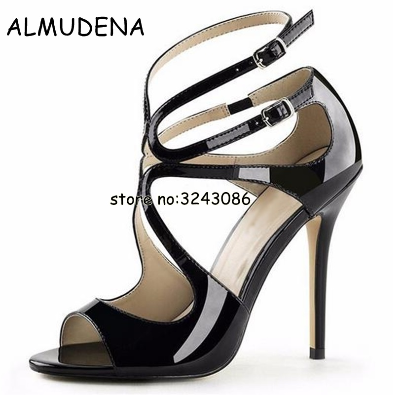 Nude Patent Leather Strappy Lance Sandals Women Party Shoes Woman Open Toe Cut-Outs Buckle High Heels Gladiator Sandals Shoes cow leather gladiator sandals cut outs decorative border rhinestones women shoes high heels summer shoes sizes 22 5cm 25cm