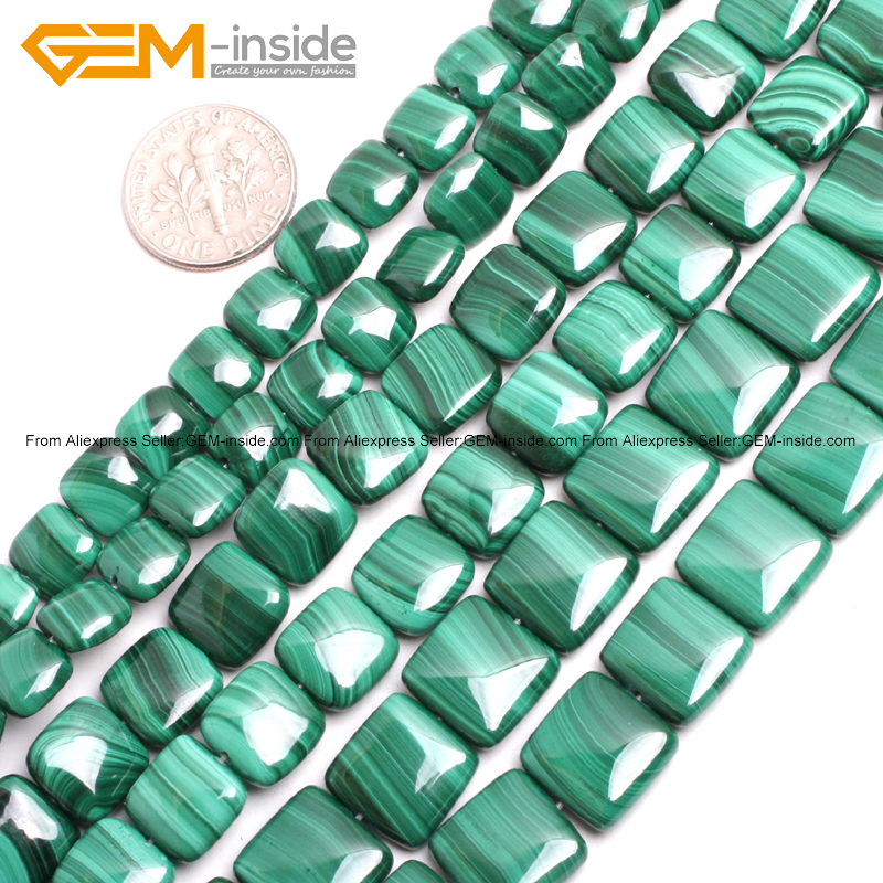 Gem-inside Natural Flat Oval Malachite Stone Beads For Jewelry Making Square Shape& Coin Shape 15inches DIY цена