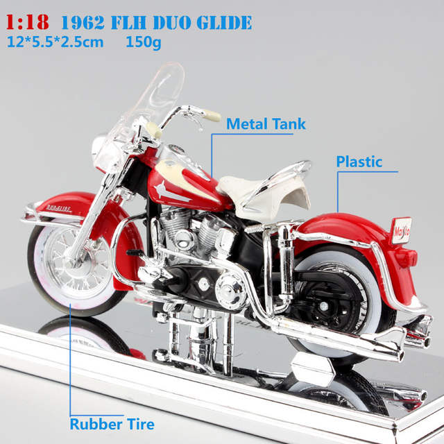 US $16 21 31% OFF|1 18 Scale maisto Harley 1962 FLH Duo Glide Diecasting  model motorcycle sport bike cars vintage style miniature car toy for boy-in
