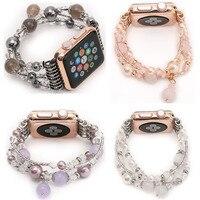 Frauen Achat Stretch-Armband für Apple Uhrenarmband für iWatch Seies 1/2/3 42mm 38mm Handgelenk Band Gürtel