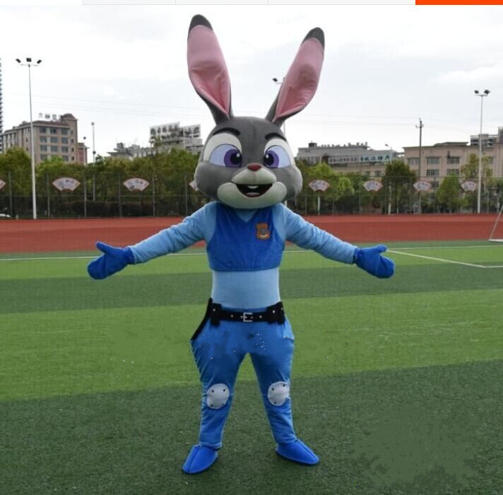 BING RUI CO Zootopia Judy Hopps Mascot Costume Cartoon Judy Rabbit Bunny Mascot Adult Unisex Mascot Costumes Custom Made