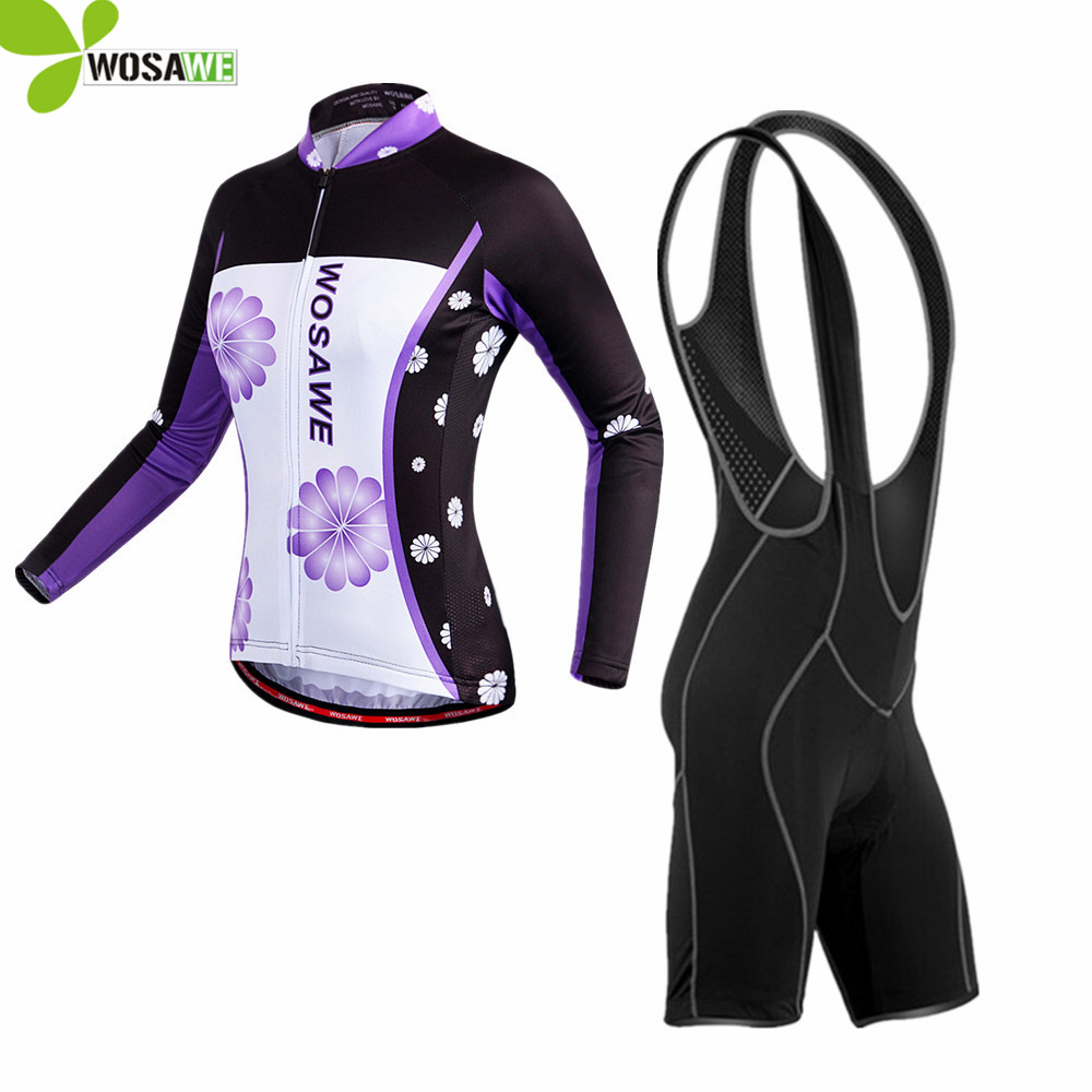 WOSAWE Pro Women Cycling Jersey bib shorts set long sleeve cycling clothes ciclismo mtb bike bicycle wear road cycling clothing 3d silicone cube 2012 team long sleeve autumn bib cycling wear clothes bicycle bike riding cycling jerseys bib pants set