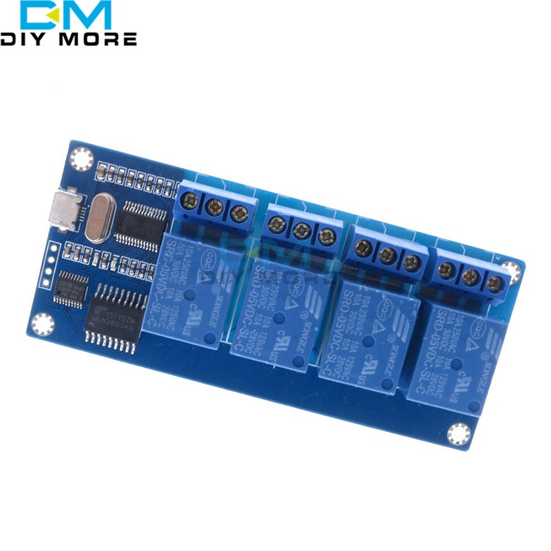 micro usb relay module 5v 4 channel relay module, relay control panel with indicator 4 way relay output usb interface relay shield v2 0 5v 4 channel relay module