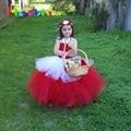 Little Red Riding Hood Menina Vestidos vestido de Baile de Natal Crianças Traje Cosplay Vestido Tutu Festa De Aniversário Roupas DT-1640