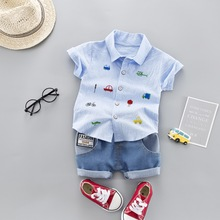 New 2019 Summer Casual Children Short Sleeve Suit Fashion Cartoon Car Shirt T-shirt + Denim Shorts Two Baby
