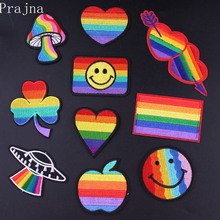 Prajna Flag Pride Gay Patch Embroidered Patches For Clothing Iron on On Clothes Rainbow Badge Sticker DIY Stripes
