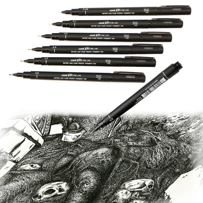 Uni Pin Fineliner 1Pc Waterproof Marker Drawing Pen Line Widths Choice Avaliable