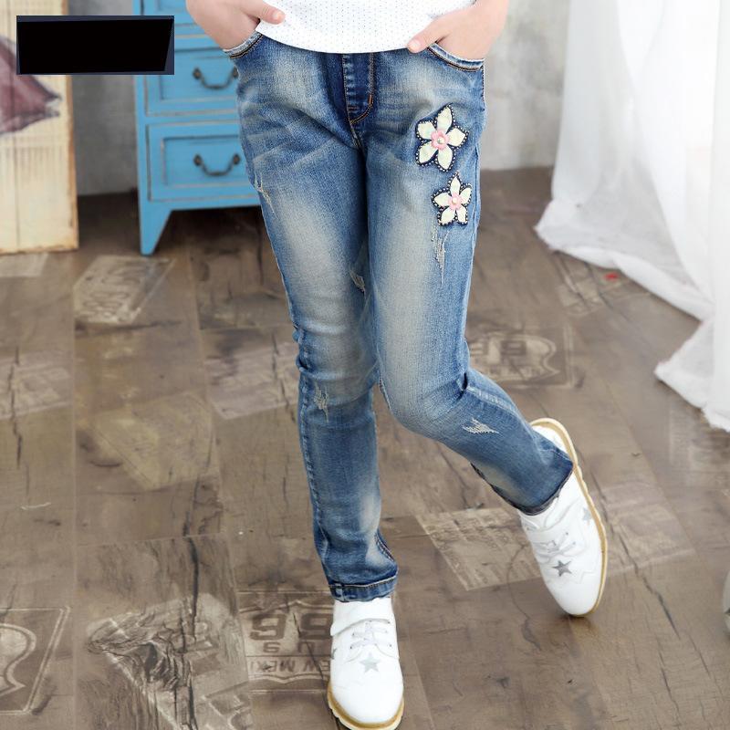 2017 New Girls Jeans Korean Slim Spring Denim Casual Trousers Jeans Pants Children Clothing Fashion Leggings Free Shipping free shipping 1pc retail 2016 spring girls fashion white with black star leggings