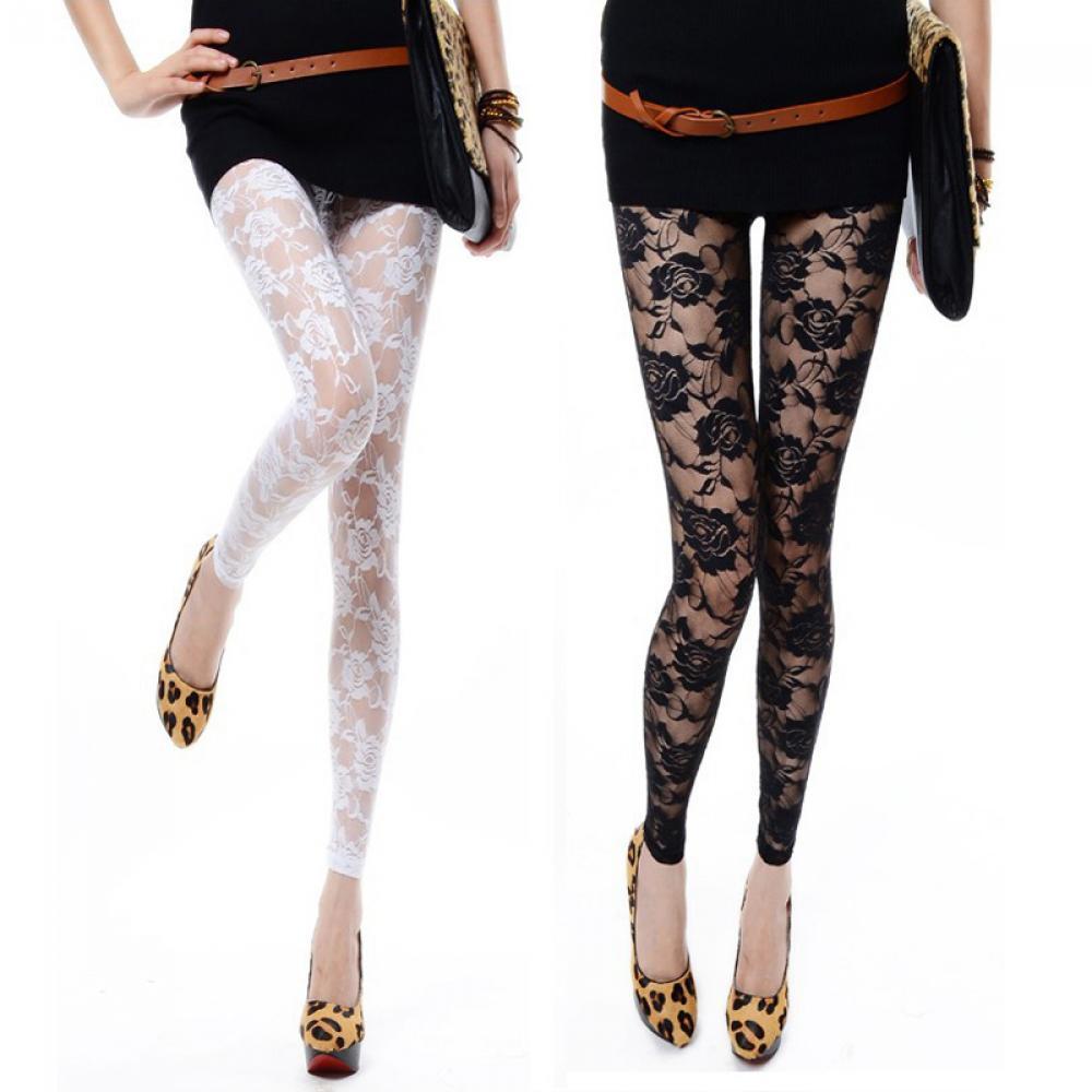 1PCS Fashion Sexy Women Lady Rose Lace Elegant Through   Leggings   Pants Footless Skinny Pants Black White