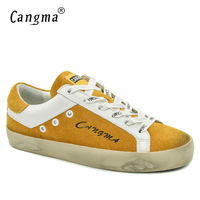 CANGMA Luxury Brand Flat Shoes Low Top Girls Fashion Suede Yellow Breathable Footwear Genuine Leather Female