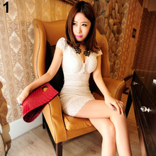 Women's Blask Color Sexy Short Sleeve V Neck Lace Club Evening Party Slim Mini Dress