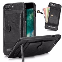 Slide Wallet Credit Card Slot Hard Leather Phone Case For Apple IPhone 6 6S Plus 7