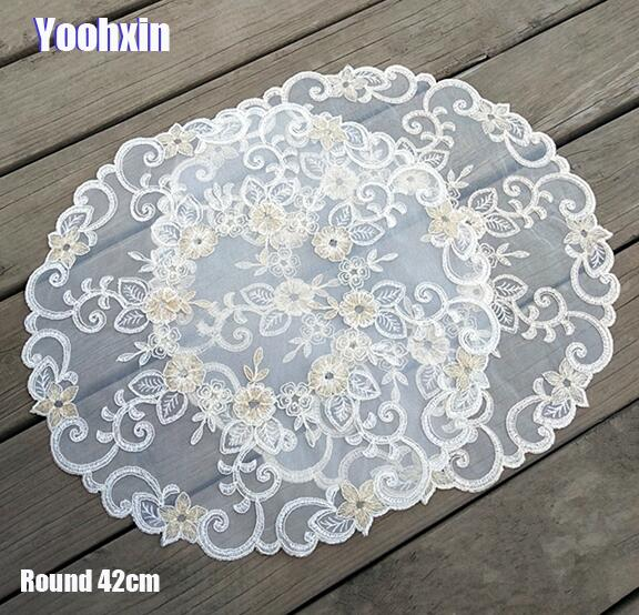 42cm HOT round embroidery place table mat cloth lace pad cup mug tea pan doilies Coffee coaster wedding dining placemat kitchen