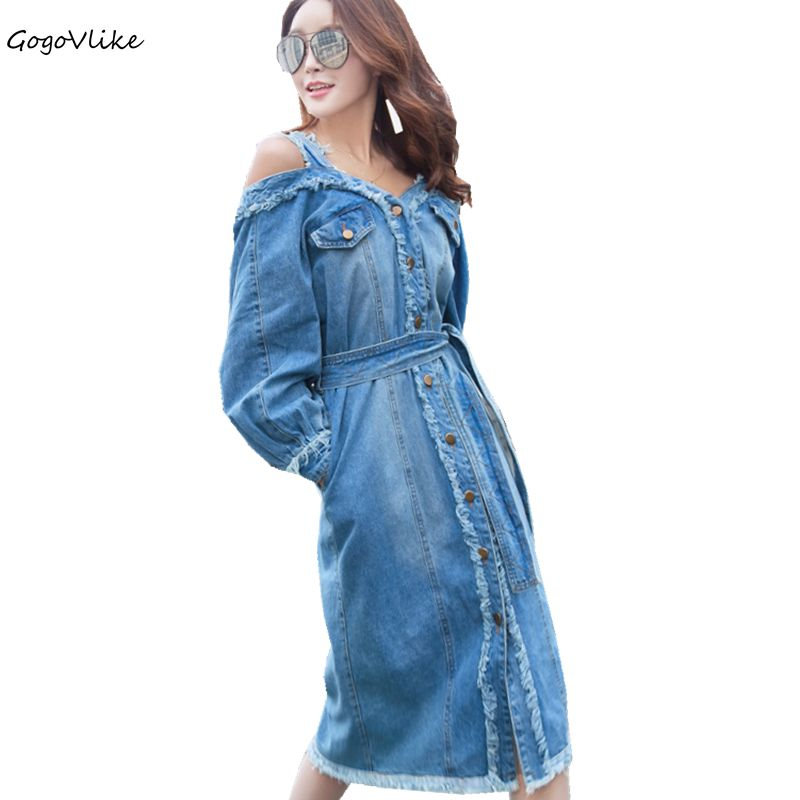 Denim Dress 2018 Women Spring Jean Dresses Off Shoulder Dress Long Sleeve Vintage Button midi Vestidos