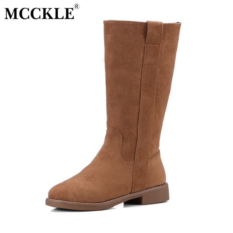 MCCKLE Women's Fashion High Quality Suede Mid-calf Boots Female Slip On Thick Heel Platform Autumn Winter Solid Style Shoes high quality genuine leather mid calf boot winter slip on warm snow boots women suede thick sole platform invisible wedges shoes