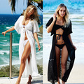 2016 Free Shipping New sexy lace cover up long beach dress tunic women bikini sarong swimsuits cover up