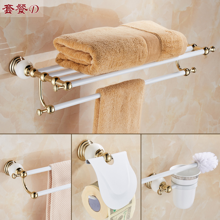 Antique Copper Bath Hardware Hanger Set Package Whrite Jade Base Towel Rack Bar Paper Holder Brush Bathroom Accessories Sj80 european towel rack paper holder hooks bath hardware set copper racks rose gold ceramic base bathroom hardware accessories ym6