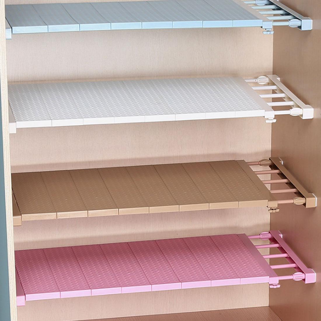 Adjustable Closet Organizer Storage Shelf Wall  Decorative Shelves Cabinet Mounted Kitchen Rack Space Saving Wardrobe