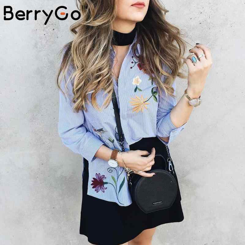 BerryGo Chic floral embroidered women blouses Winter long sleeve striped shirt women tops 2018 Casual bird pattern chemise femme