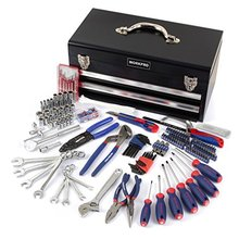 WORKPRO 229-Piece Metal Tool Box  Home Tool Set Mechanic Tools with Two Drawers