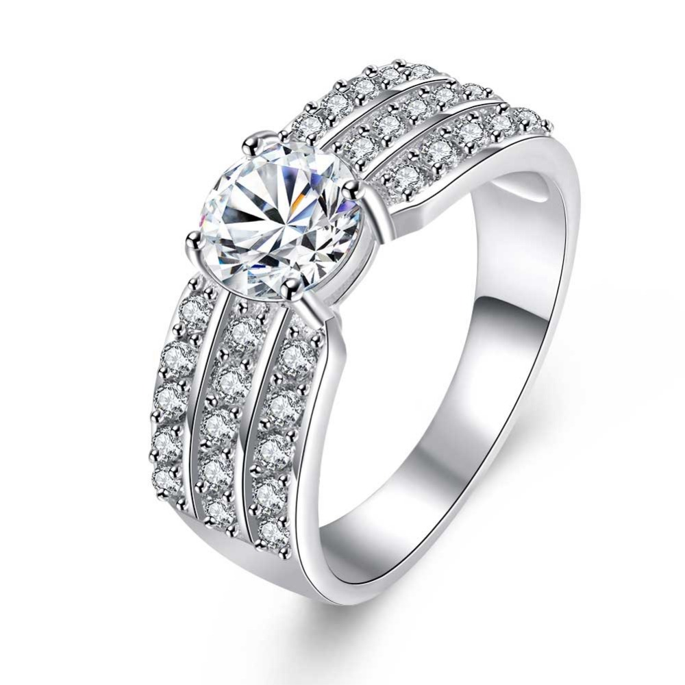 Women Fashion Cubic Zircon Rings Vintage Big Wide Engagement Ring  Accessories For Wedding Jewelry Wholesale Bijoux
