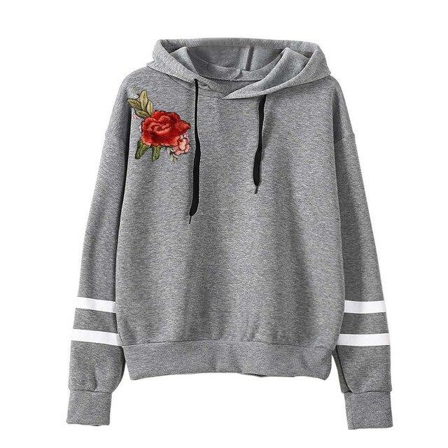 2017 Flowers Embroidery Sweatshirt Long Sleeve Casual Women Pullovers Black  Round Neck Cute Sweatshirt For Women