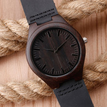 Casual Dark Wood Wristwatch For Men