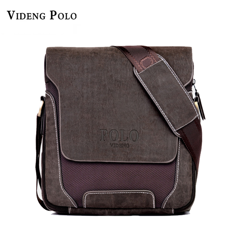 POLO PU Leather Men Shoulder Bag Casual Business Mens Canvas Messenger Bag Laptop Vintage Men's Crossbody Bag Bolsas Male Tote