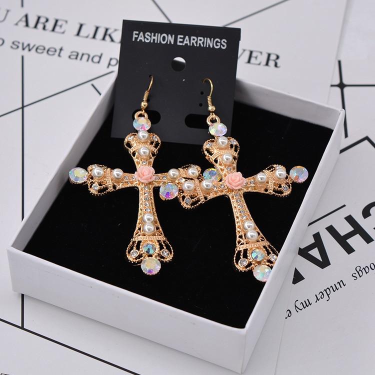 New Arrival Vintage Crystal Cross Drop Earrings for Women Baroque Bohemian Large Long Earrings Jewelry Brinco