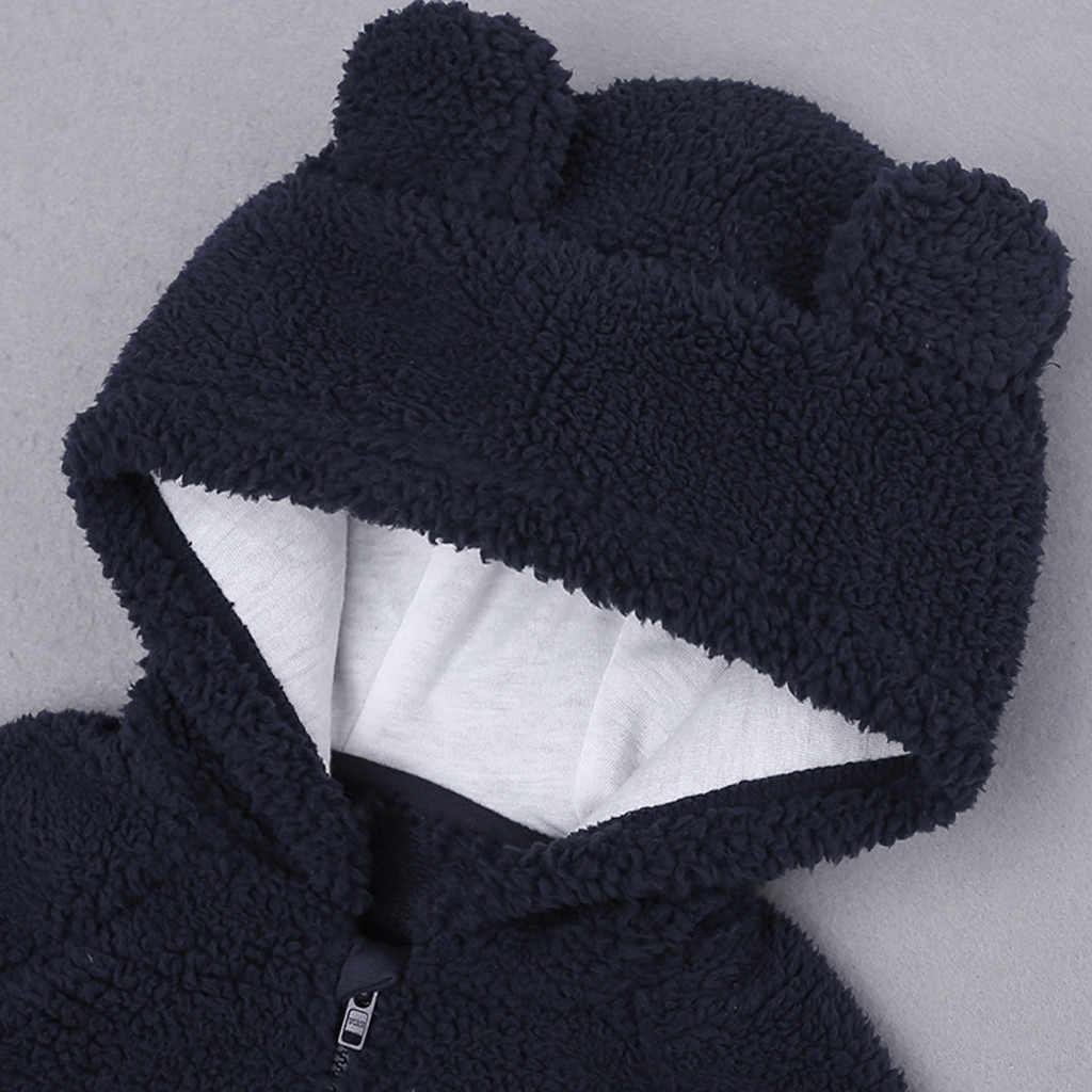 Bebê recém-nascido meninos menina dos desenhos animados urso carta manga longa quente casaco com capuz snowsuit inverno roupas do bebê moletom feminino inverno