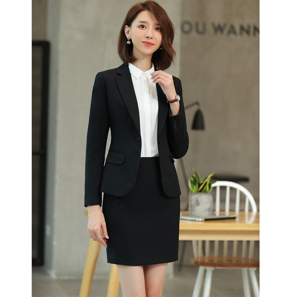 Work Blue Pantalons Noir Costume dark D'affaires Black Bouton Suit Wear Élégant Skirt Femmes Office De 2018 Ol Seul Lady Haute Costumes Suit black Qualité Foncé Pant Suit Luxe Bleu Nouvelle UwqS46x07