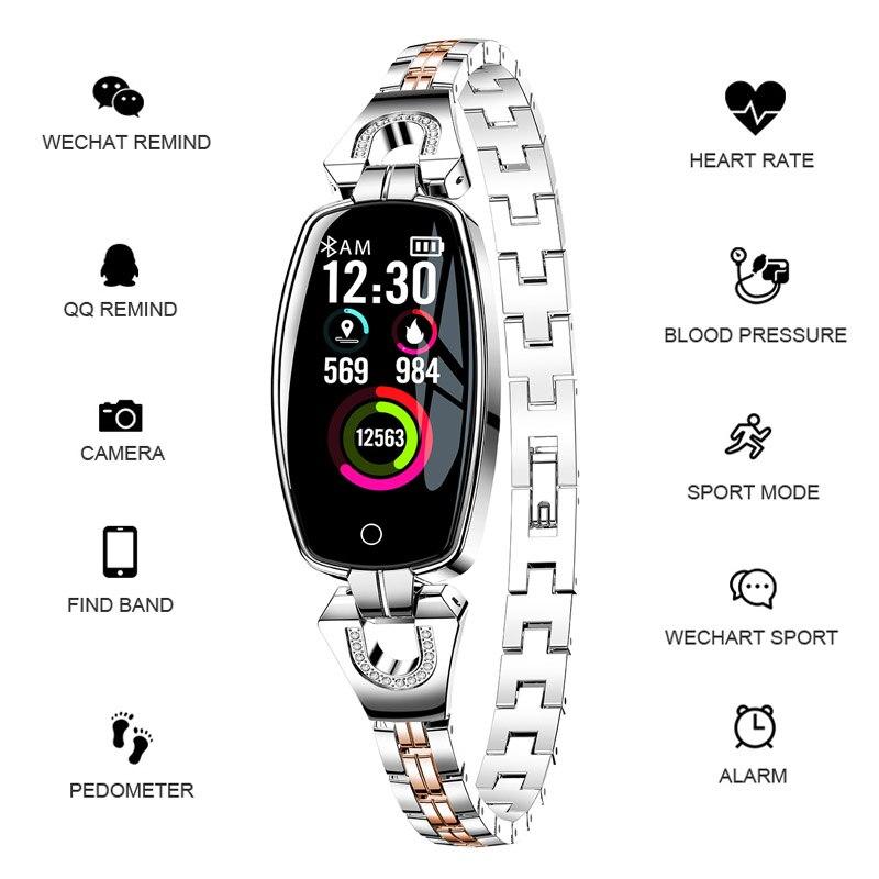 Со стразами роскошные часы Smart Для женщин шагомер спортивные часы Smart Браслет монитор сердечного ритма Водонепроницаемый часы для Android iOS
