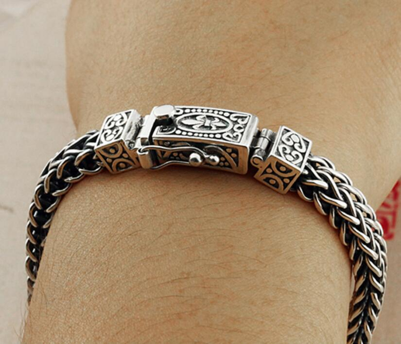 Takı ve Aksesuarları'ten Zincir ve Bağlantı Bilezikleri'de Saf Gümüş El Yapımı 925 Gümüş Bilezik erkek Vintage Tay Gümüş Orijinal Kişiselleştirilmiş S925 Bilezik'da  Grup 2