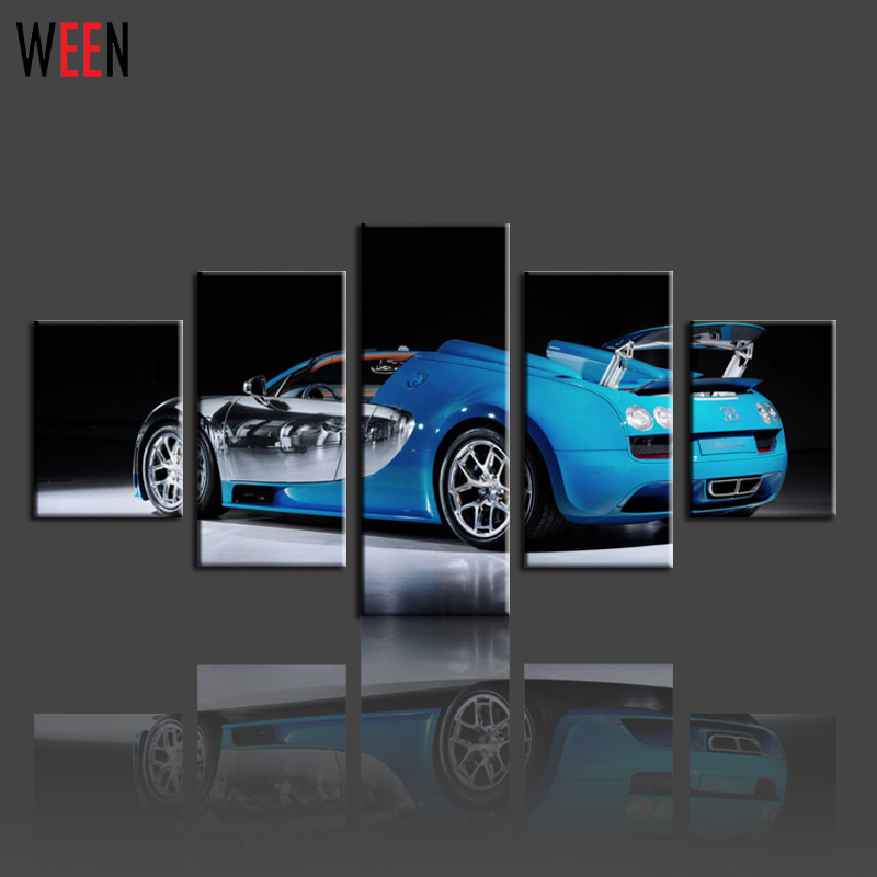 Diy framed blue sport car canvas painting wall picture for living ...
