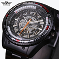 WInner 2017 Sport Racing Design Stainless Steel Case Men Military Watch Top Brand Luxury Automatic Mechanical Skeleton Watch