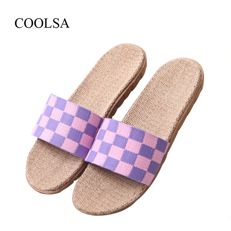 COOLSA Women's Plaid Linen Slippers Indoor Non-slip Flax Slippers Breathable Lightweight Flip Flops Beach Slippers Women Slides coolsa women s summer flat non slip linen slippers indoor breathable flip flops women s brand stripe flax slippers women slides
