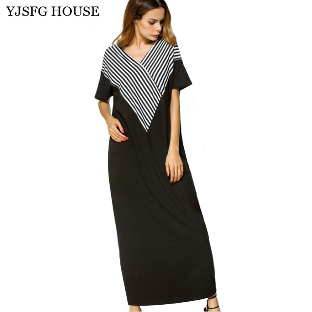 YJSFG HOUSE Plus Size Vintage Women V neck Long Maxi Patchwork ...