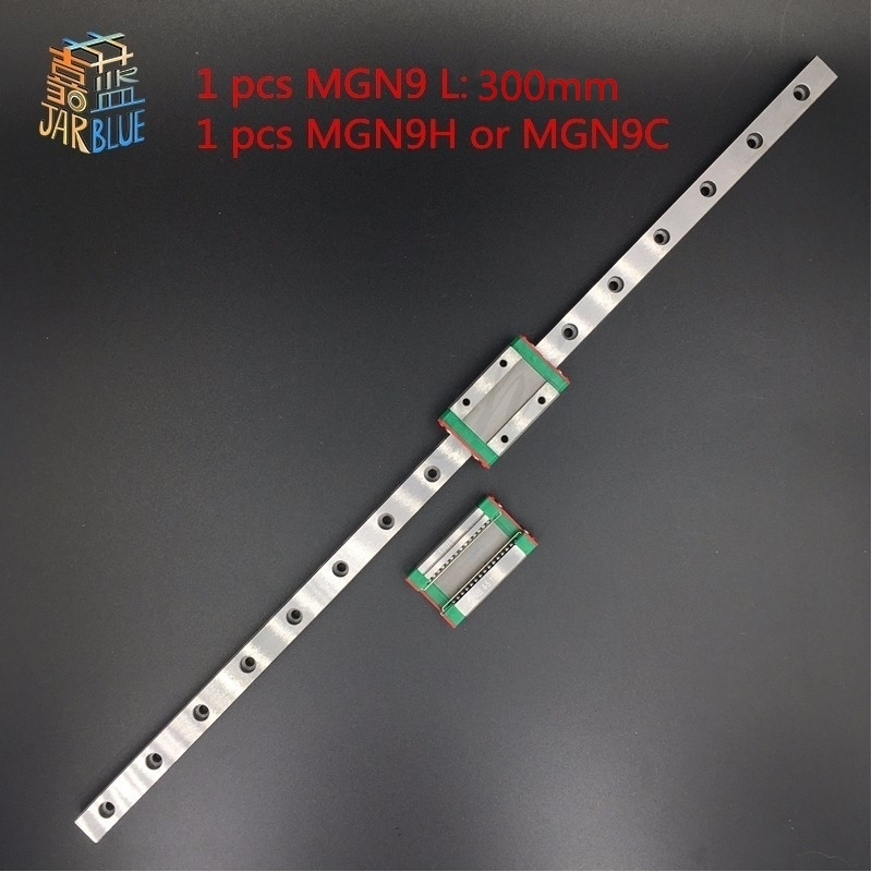 Free shipping 9mm Linear Guide MGN9 L= 300mm linear rail way + MGN9H Long linear carriage for CNC X Y Z Axis|linear rail|linear rail way|linear carriage - title=