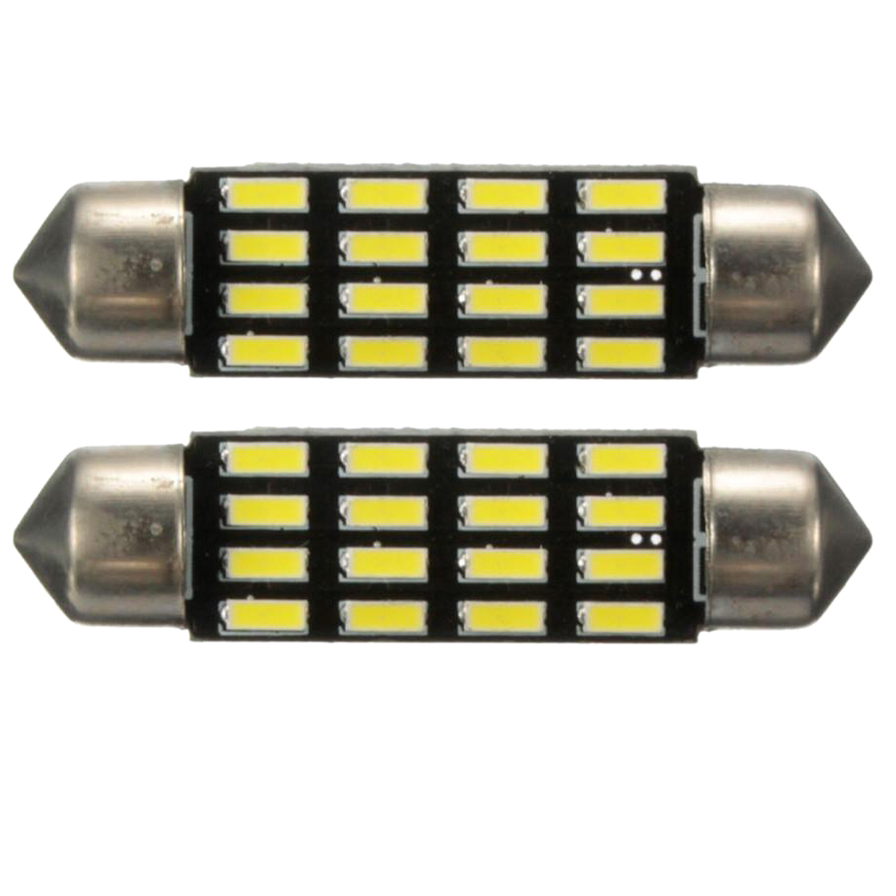 2x автомобиля Купол <font><b>Canbus</b></font> 4014 smd 16 светодиодные лампочки Интерьер гирлянда лампа 42 мм белый